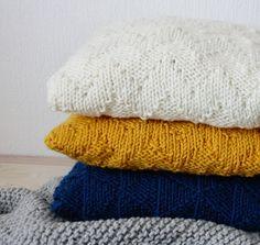 Hand Knitted sweater pillow throw chevron cushion