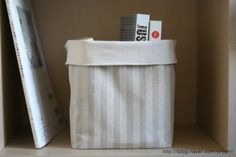Fabric Basket  Natural Color Cotton Canvas and by VintageJamie, $19.00