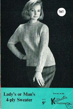 1960's VINTAGE MACHINE PATTERN: KNITMASTER TWINMATIC #787 UNISEX 4-PLY SWEATER