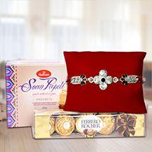Fancy Rakhi with Ferrero Rocher & Soan Papdi