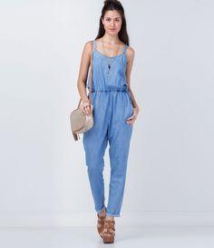 Macacão feminino Modelo alça transpassada nas costas Longo Marca  Blue  Steel Tecido  jeans Composição 92abd21ea5