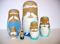 These distinguished old men are covered in handsome beards and mustaches. In the course of history, men with facial hair have been ascribed various attributes such as wisdom and knowledge, sexual virility, masculinity, or high social status.. 6 dolls in all and they stack up into eachother :) all hand painted and sealed with non-toxic materials