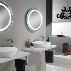 TFT Clever Bathroom Round Basin with Mirror & Worktop, White | ACHICA