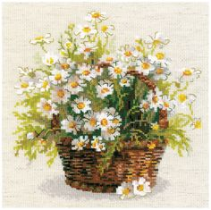 Amazon.com: RIOLIS 14 Count Russian Daisies Counted Cross Stitch Kit, 9.75 x 9.75""