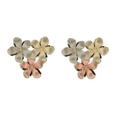 14kt Tri-color Gold Triple Hawaiian 8mm Plumeria Blossoms Stud Earrings Paradise Collection Jewelry