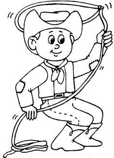 Western Cowboy Kids Colouring Pictures to Print and Colour Online