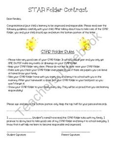 STAR Folder Contract from Second Grade Superstars on TeachersNotebook.com (1 page)