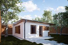 Projekt budynku letniskowego, parterowego, z pokojem wypoczynkowym, aneksem kuchennym, pokojem sypialnym i łazienką. Domek może być doskonałym miejscem do wypoczynku oraz relaksu.