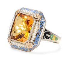 Art Deco citrine & seed pearl ring in white gold with multicolored enamels