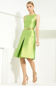 Michael Kors | Pleat Front Dress | green & gold |= (DATE NIGHT)