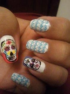 DIY Halloween Nails : Sugar Skull - Happy Halloween