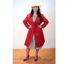 Weather or Not 70s Mod Cranberry Trench Coat by MorningGlorious