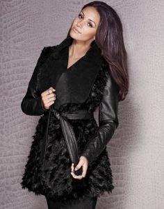 Michelle Keegan P U Sleeve Fur Coat
