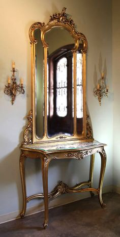Antique Italian Rococo Giltwood Console/Mirror | Antique Consoles/Hall Trees | Inessa Stewart's Antiques