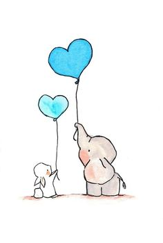 Elephant and bunny with heart balloons ~