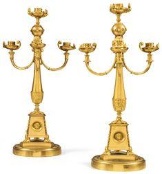 candlesticks/candelabra ||| sotheby's pf1701lot9ckc4fr  Paire de candélabres en bronze doré d'époque Empire, vers 1810, attribuée à Claude Galle