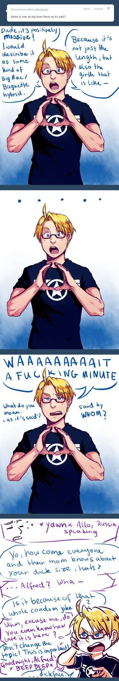 "Ask RusAme ... by ~PunPuniChu ""Alfred is Ivan as big down there as it's said?"" - Hetalia - America / Russia:"