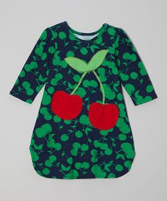 Take a look at this Navy & Green Cherries Dress - Toddler & Girls by little bits on #zulily today!