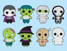 Premium Vector Clipart Kawaii Spooky by LookLookPrettyPaper Kawaii Halloween, Spooky Halloween, Halloween Tafel, Cute Halloween Drawings, Halloween Doodle, Halloween Clipart, Halloween Crafts, Diy Kawaii, Kawaii Chibi