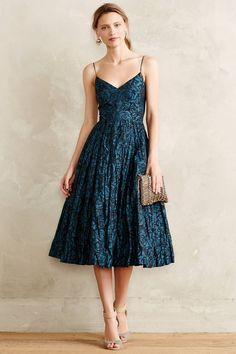 Glinted Taffeta Midi Dress