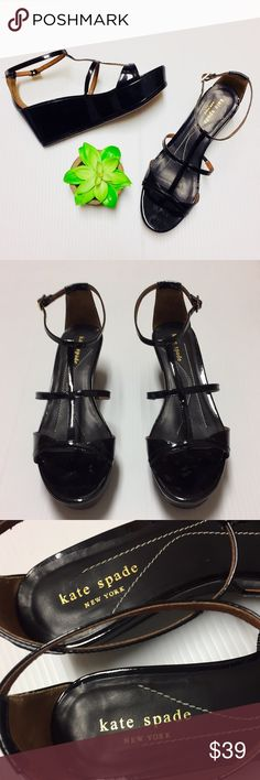 f03378153d6289 Kate Spade patent leather wedges Beautiful Kate Spade black patent leather  wedge sandals