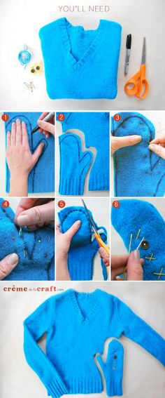 How to Make Sweater Mittens Out of an Old Sweater can use this for lining wool mittens Diy Clothes Refashion, Diy Clothing, Sewing Clothes, Old Sweater Diy, Sweater Mittens, Knitting Sweaters, Women's Sweaters, Loose Sweater, Fingerless Mittens