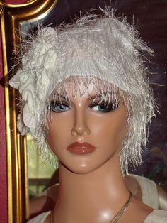 Wedding  Hat Flapper 1920s Cloche Hat Antique White by ludascrafts, $49.99