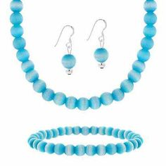 """Sterling Silver Teal Cats Eye Bead Earrings Bracelet and  Necklace 15-19"""""""" Jewelry  Set - The Cats-Eye stone exhibits chatoyancy which is a breathtaking quality that appears to move when it is exposed to light at different angles. Jazz up your clothing with this stylish beaded Simulated Teal Cats Eye ensemble! Versatile design is combined with splendor as graceful earrings a beautiful necklace and a stylish bracelet come together in this simply stunning Jewelry set.      Product Det..."""