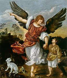 "Archangel Raphael (""It is God Who Heals"") depicted here by Titian.  He is mentioned in the Book of Enoch and the Apocryphal Book of Tobit."