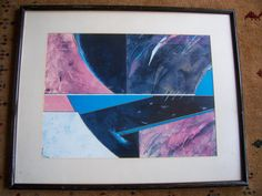 """Gorgeous  Old Abstract Print - signed by Bernard Prince - """"BLUE-PINK-SHAPES""""  30 x 24 by LIZ404 on Etsy"""