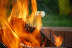 by Dorothy Turnbull - Abstract Fire & Fireworks ( orange, cook, flames, warm, desert, stick, brick, fire ring, marshmallows, fire, flame, toasty, treats, ashes, red, roasting, camp out, camping, coal, hot, cooking )