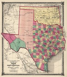 County Map of Texas, and Indian Territory