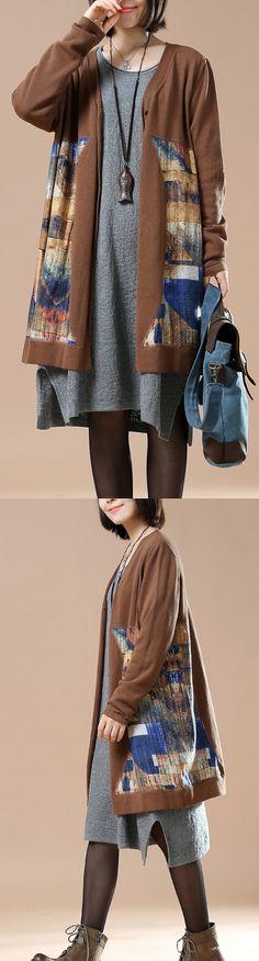 Chocolate plus size knit coats woman sweaters