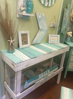 Coastal Style Decor – Distressed Console Table with Beach House Accessories – Beach House Decor Beach Cottage Style, Beach Cottage Decor, Coastal Decor, Coastal Cottage, Beach House Diy Decor, Beach Style Bedroom Decor, Beach Cottage Bedrooms, Spare Room Decor, Costal Bedroom