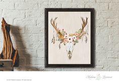 printable art floral antler art print instant download wall art rustic art prints home