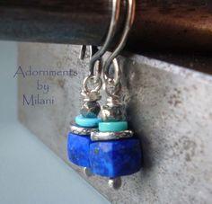 Blue Earrings Lapis Lazuli Turquoise Dark Blue Stones Small - Royal Blue. $29.00, via Etsy.