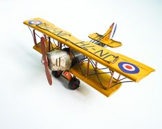 Vintage Retro Biplane Model Metal Aircraft WWI Yellow Small