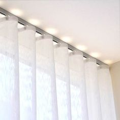 Deco track anodized aluminum ripplefold curtain track sets with a rounded front for a decorative flair. Simple baton draw sets with wheeled ripplefold carriers. Curtains Living, Ripplefold Curtains, Window Treatments, Curtains, Home, Wave Curtains, Home Curtains, Curtain Designs, Curtains With Blinds