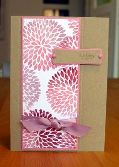 handmade card by Anni Card ... clean and simple lines ... luv the shading of reds and mauve on the large flower ... kraft base card ...