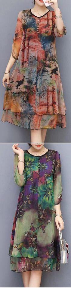 US$ 25.99 Vintage Floral Printed 3/4 Sleeves Fake Two Pieces Dresses