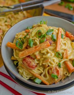 Noodles in a Creamy Coconut Peanut Sauce. This was better than I expected. Double the whole recipe because it doesn't make that much. The sauce was outstanding!
