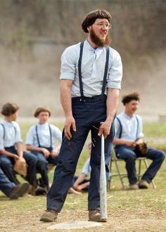 Freeman Burkholder waits for his turn at bat during a game of baseball at the farewell picnic in Bergholz, Ohio, April 9, 2013. The picnic was for Burkholder and other Amish people leaving for prison this week for their part in the hair and beard-cutting scandal against other Amish members.
