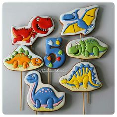 Cupcakes Decoration For Boys Dinosaur Birthday 28 Ideas For 2019 Cookies For Kids, Fancy Cookies, Iced Cookies, Cute Cookies, Cupcake Cookies, Dinosaur Cookies, Dinosaur Birthday Cakes, Dinosaur Cake, Dinosaur Party