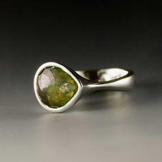 Pear Rose Cut Green Tourmaline  Ring custom size by nodeform.  Amazing!