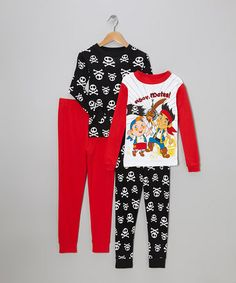 Black & Red Jake The Pirate Pajama Set by Jake and the Never Land Pirates