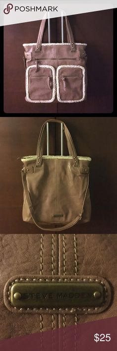 Steve Madden bag Large Steve Madden purse. Wool trim around pockets and top of bag. Lots of pockets and storage. Can fit a laptop inside. Has handles and long strap to carry. NWOT. Never been used. Steve Madden Bags Totes