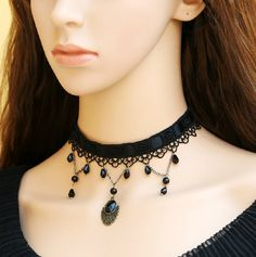Elegant Black Lace Choker Necklace Victorian by FairybyFoxie