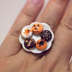 Kawaii Miniature Food Ring  Halloween Mini Donuts by 868shop, $16.50