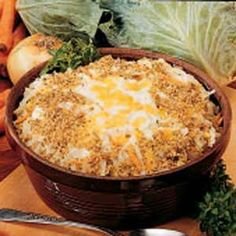 Scalloped Cabbage Casserole Recipe- Recipes I've taken this dish to many church dinners and receive good comments every time. If your children won't eat cabbage, try making this recipe for them (but don't tell them what's in it! Vegetable Dishes, Vegetable Recipes, Cabbage Casserole, Cabbage Recipes, Casserole Recipes, Cooking Recipes, Potluck Recipes, Meal Recipes, Summer Recipes