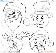 Clipart Outlined Santa Snowman Reindeer And Penguin Faces - Royalty Free Vector Illustration by visekart